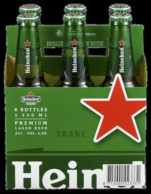 Heineken Heineken Flaske 0,33l x 6 stk, 1,98 l