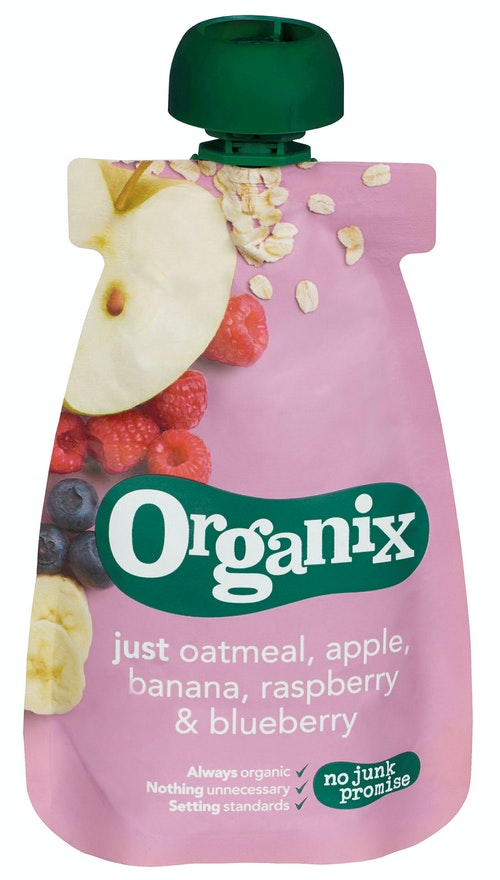 Semper Organix Grøt Havre, Eple, Banan, Bringebær & Blåbær, 100 g
