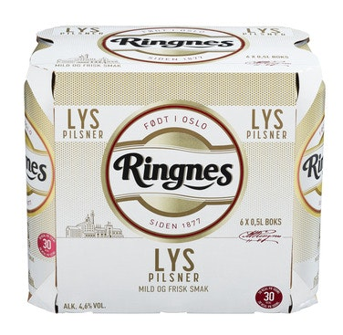 Ringnes Ringnes Lys Pilsner 6 x 0,5l, 3 l