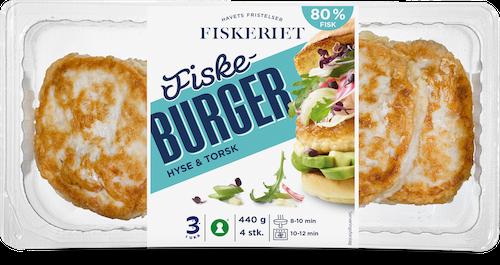 Fiskeriet Fiskeburger Hyse & Torsk 80% Fisk, 4 stk