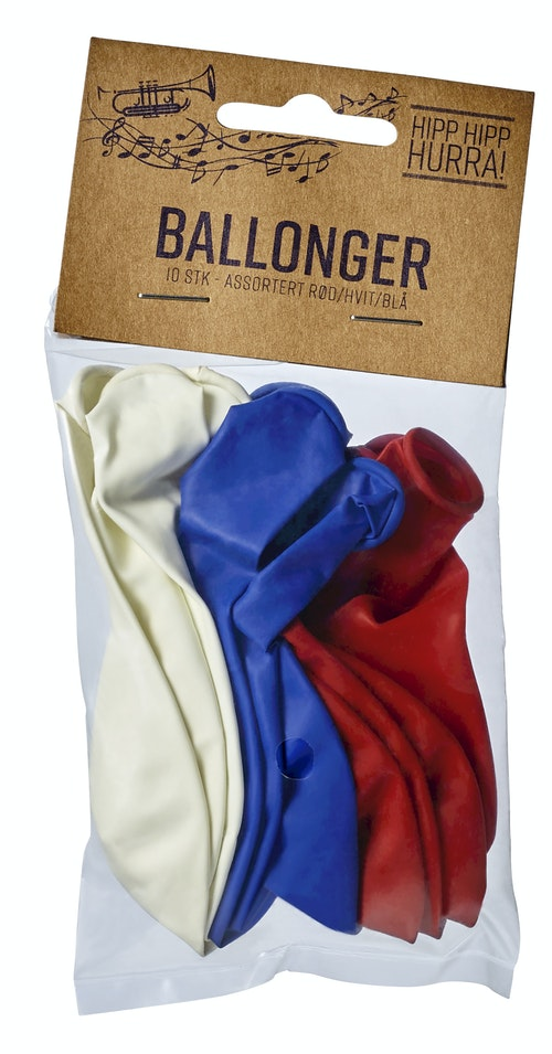 17. Mai Ballonger i rød, blå og hvit 10 stk, 10 stk