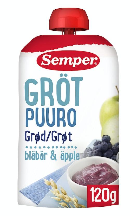 Semper Grøt RTE Blåbær & Eple fra 6mnd, 120 g