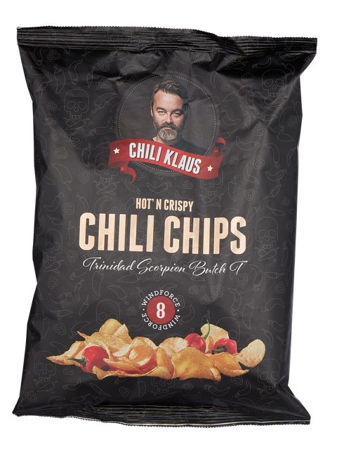 Chili Klaus chips med Chili Vindstyrke 8, 150 g