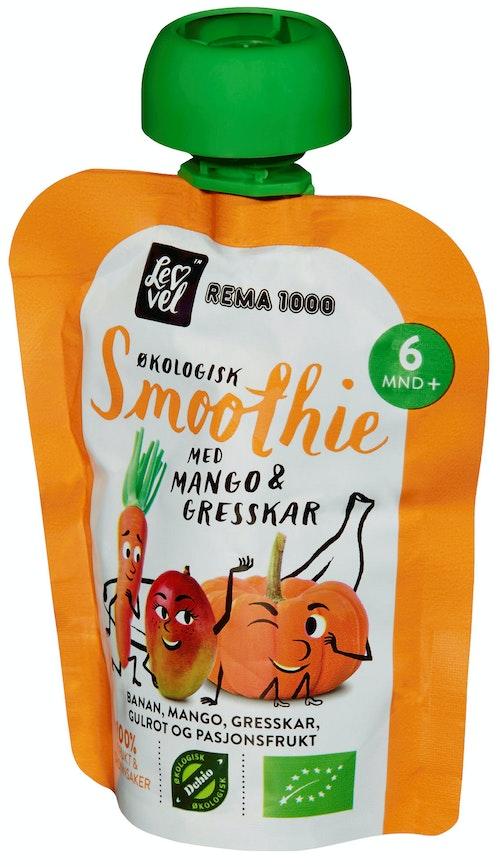 REMA 1000 Lev Vel Smoothie Mango & Gresskar Fra 6 mnd, 90 g