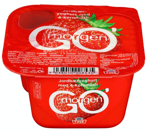 Tine Go' Morgen Jordbær med 4-kornmüsli, 195 g