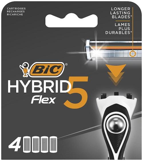 BIC Bic Hybrid 5 Flex-barberhøvelrefills For Menn, 4 stk
