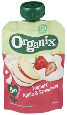 Semper Organix Yoghurt Eple & Jordbær Fra 6 mnd, 100 g