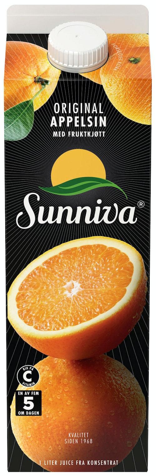 Sunniva Sunniva Original Appelsinjuice Med Fruktkjøtt, 1 l