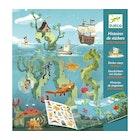 Gjenbrukbar klistremerkebok med motiver fra havet