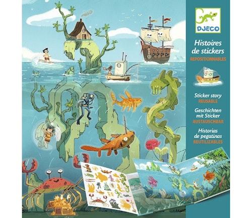 Djeco Gjenbrukbar klistremerkebok med motiver fra havet 1 stk