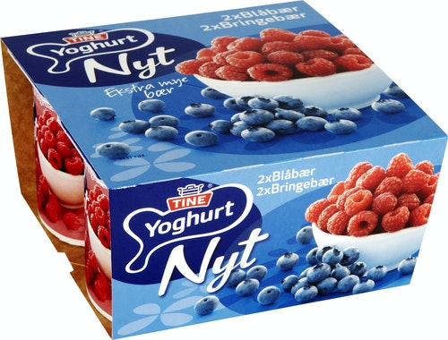 Tine Yoghurt Blåbær & Bringebær 4x125g, 500 g