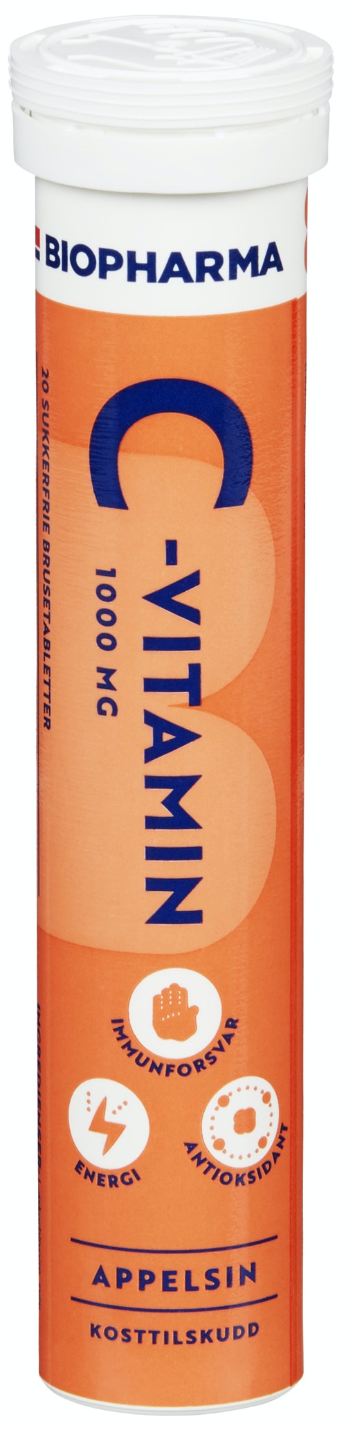 Biopharma C vitamin brusetab Appelsin 20 stk