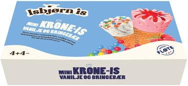 Isbjørn Is Mini Krone-Is Vanilje Og Bringebær 8 stk, 680 ml