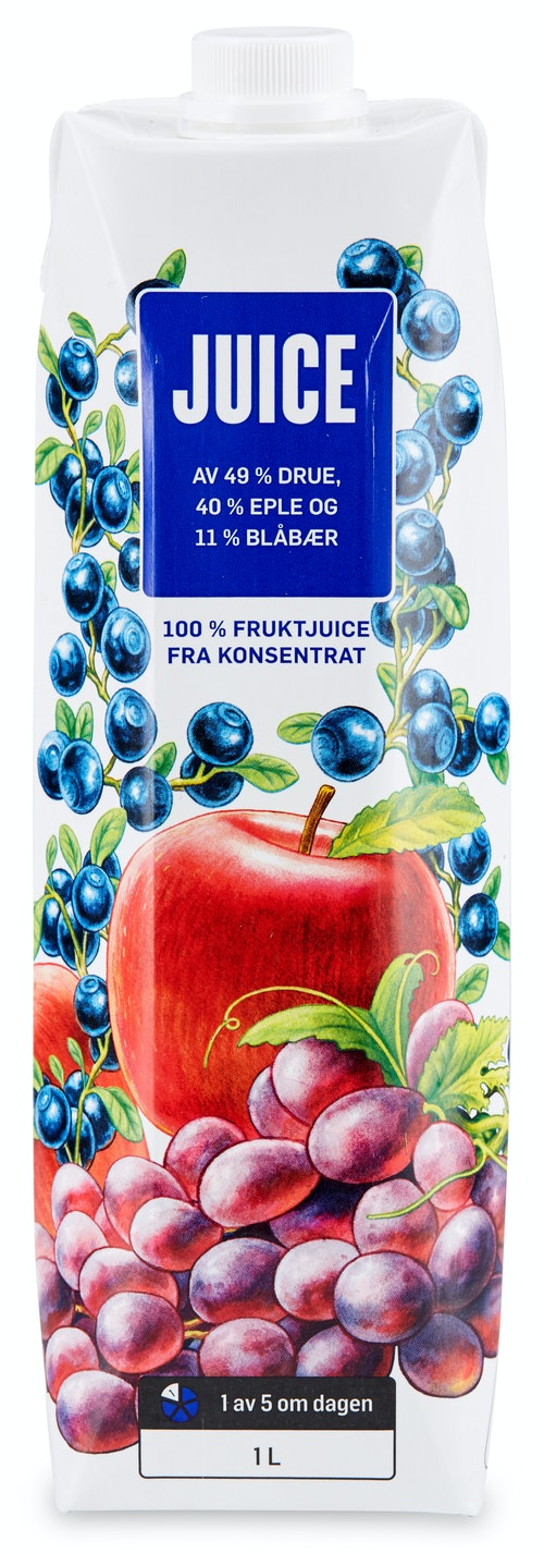 REMA 1000 Juice Drue, Eple & Blåbær 1 l