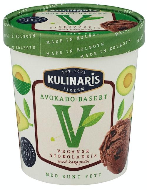 Kulinaris Vegansk Sjokolade Iskrem Avokado-basert, 0,5 l