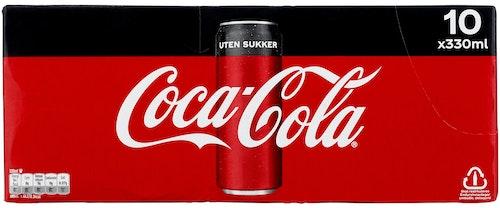 Coca-Cola Coca-Cola Uten Sukker 10 x 0,33l, 3,3 l