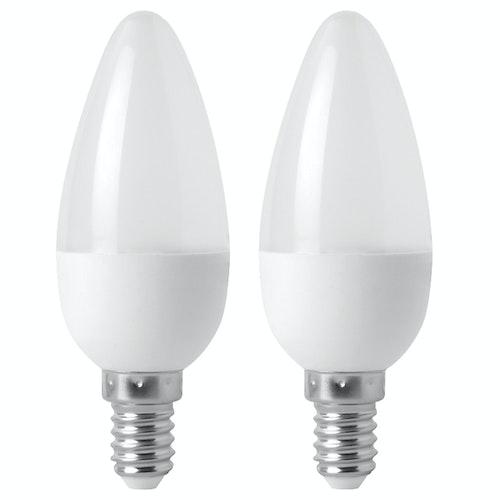 Clas Ohlson LED-pære E14 2w, Mignon, 136lm, 2 stk