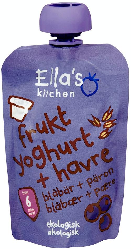 Ella's Kitchen Frukt Yoghurt + Havre, Blåbær + Pære Fra 6 mnd, 100 g