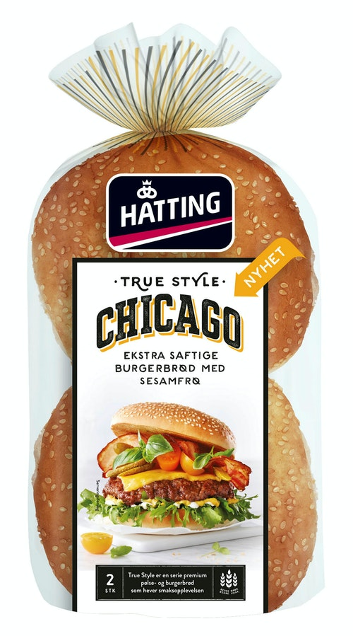 Hatting True Style Chicago Hamburgerbrød 2 stk, 160 g
