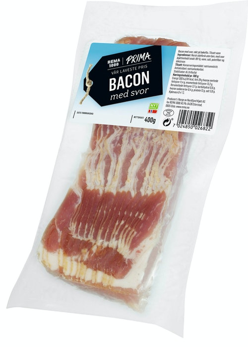 Prima Bacon Med Svor Oppskåret 400 g