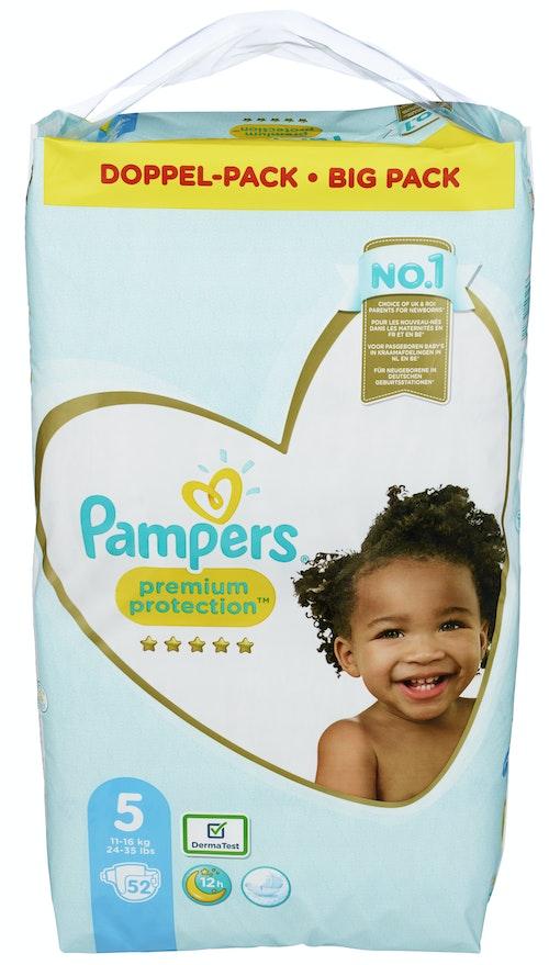 Pampers Bleie premium protection S 5 11-16kg, 52 stk