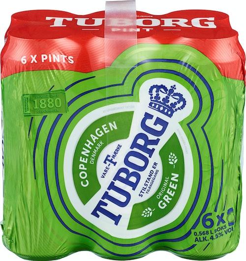 Tuborg Tuborg Grøn Pint Boks, 6 x 0,568l, 3,41 l