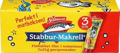 Stabburet Stabbur-Makrell Porsjonstuber 3 x 25g, 75 g