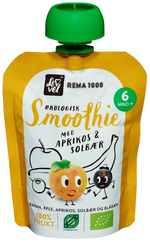 REMA 1000 Lev Vel Smoothie Aprikos & Solbær Fra 6 mnd, 90 g