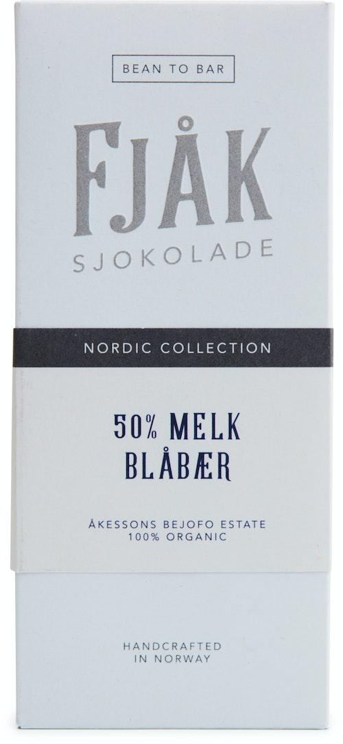 Fjåk Økologisk 50% Melk & Blåbærsjokolade 53 g