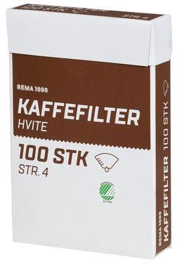REMA 1000 Kaffefilter hvite Str 4, 100 stk