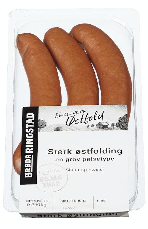 Brødr Ringstad Sterk Østfolding Grov Pølse, 3 stk