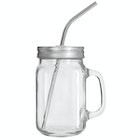 Glasskrus med lokk & sugerør