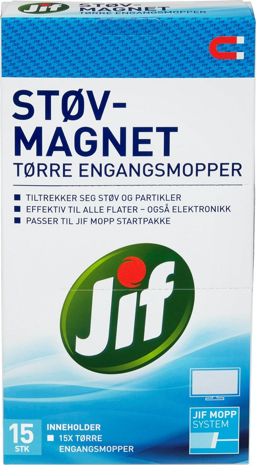 Jif Tørrmopp Støvmagnet Refill, 15 stk