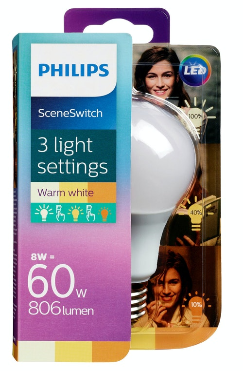 Philips Lyspære Led Sceneswitch 60w Normal, 806 lumen, 1 stk