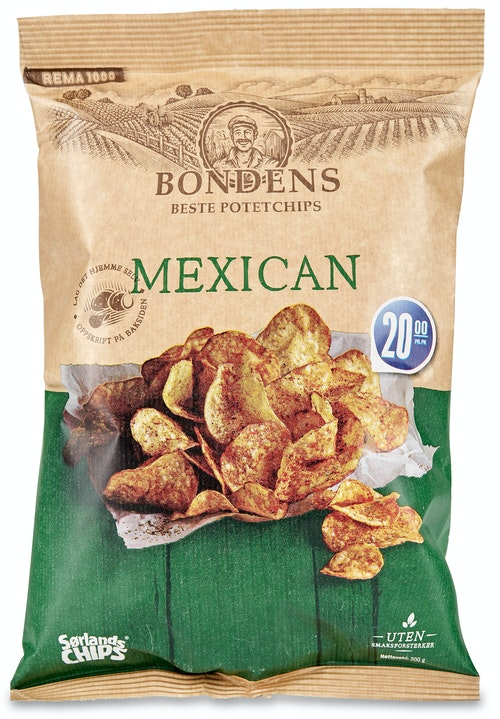 Sørlandschips Bondens Potetchips Mexican 200 g