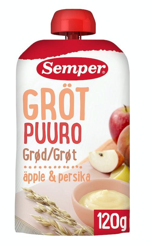 Semper Grøt Eple & Fersken Fra 6 mnd, 120 g
