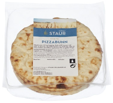 Staur Fjellbakeri Pizzabunn hvete, ca 16 cm 4 stk, 280 g