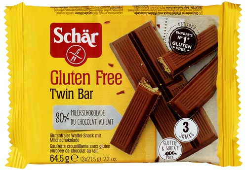 Schär Twin Bar Sjokoladekjeks Glutenfri, 64,5 g