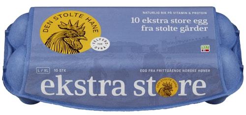 Den Stolte Hane Egg Fra Frittgående Høner Str L / XL, 10 stk