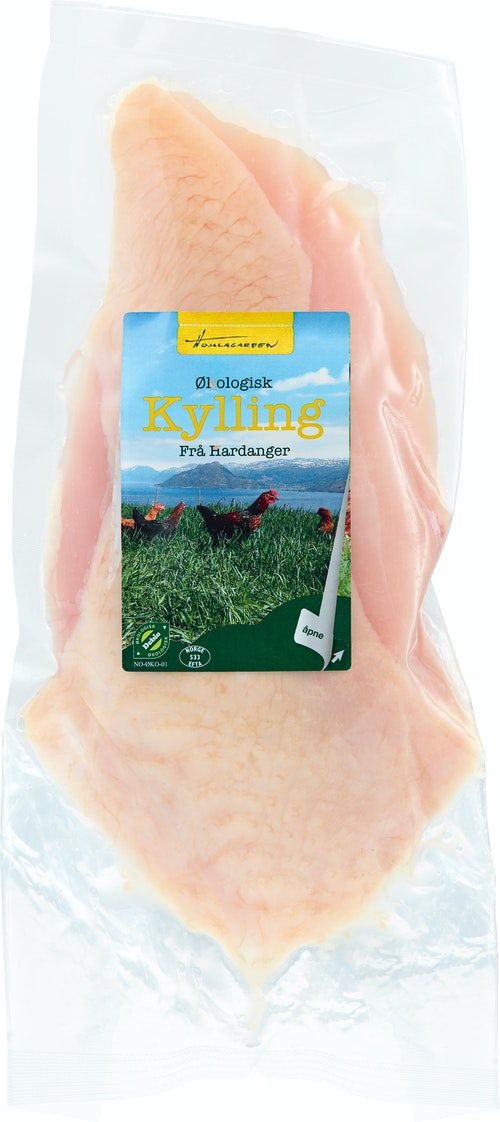 Homlagarden Økologisk Kyllingbryst Med Skinn ca. 290 g