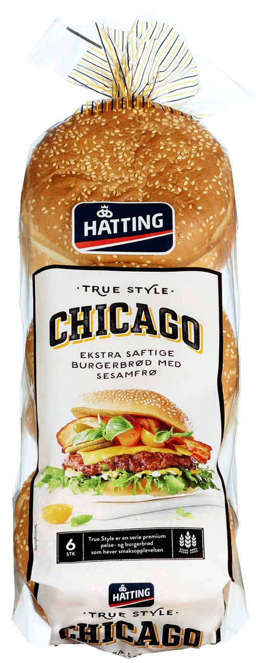 Hatting Chicago Hamburgerbrød 6 stk, 480 g