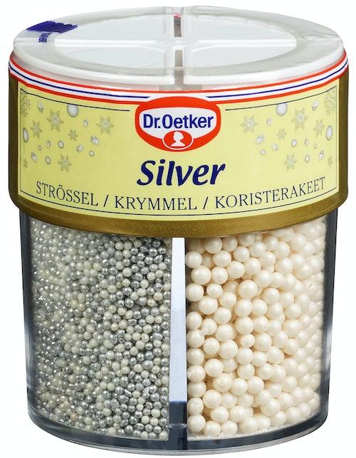 Dr. Oetker Kakepynt Silver 4 kammer, 85 g