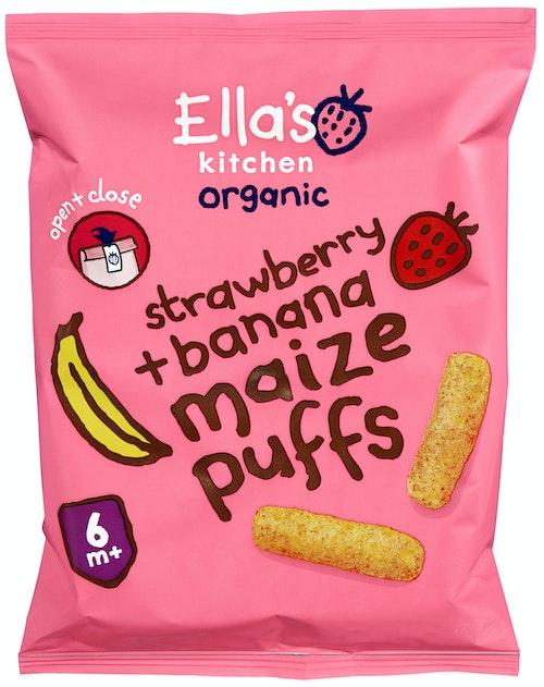 Ella's Kitchen Maizepuffs Jordbær + Banan Fra 6 mnd, 20 g
