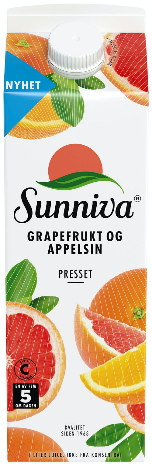 Sunniva Presset Grapefrukt & Appelsinjuice Premium 1 l