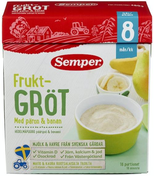 Semper Fruktgrøt med pære og banan 8 mnd, 480 g