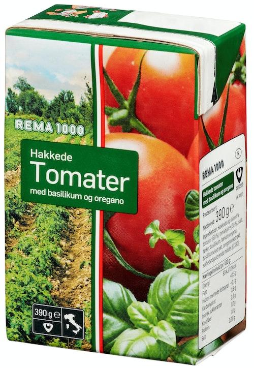 REMA 1000 Hakkede Tomater Med Basilikum 390 g