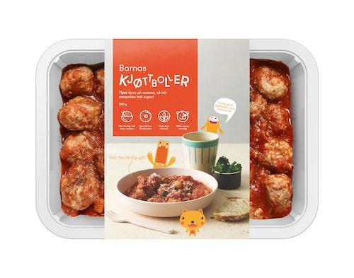 Oda Barnas Kjøttboller i Tomatsaus Fiks ferdig, 2 Porsjoner, 800 g