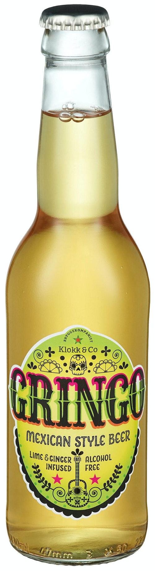Klokk & Co Gringo Alkoholfri Lime og Ingefær, 0,33 l