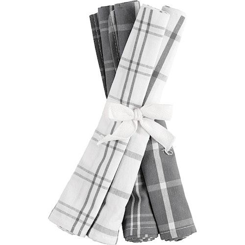 Kjøkkenhåndkle Grå/hvit 4 stk