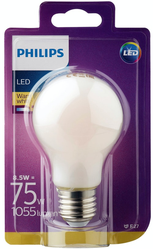 Philips Lyspære Led Classic 75w, E27 Matt Normal Varmhvit, 1 stk
